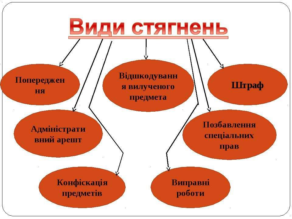 Попередження Конфіскація предметів Адміністративний арешт Позбавлення спеціал...