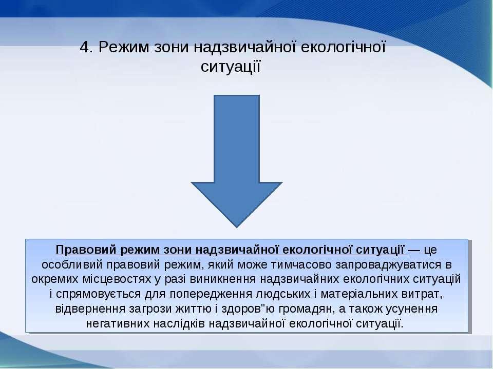 4. Режим зони надзвичайної екологічної ситуації Правовий режим зони надзвичай...