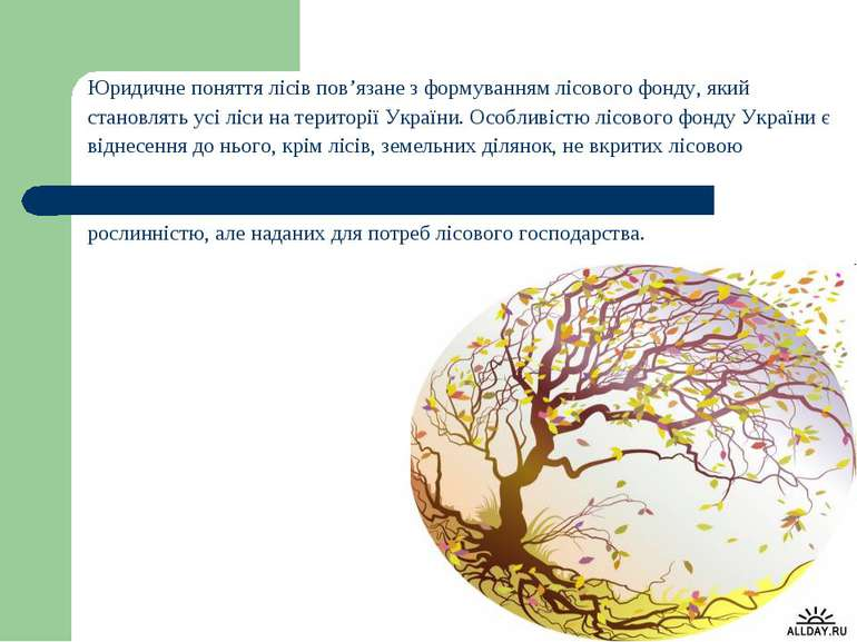 Юридичне поняття лісів пов'язане з формуванням лісового фонду, який становлят...