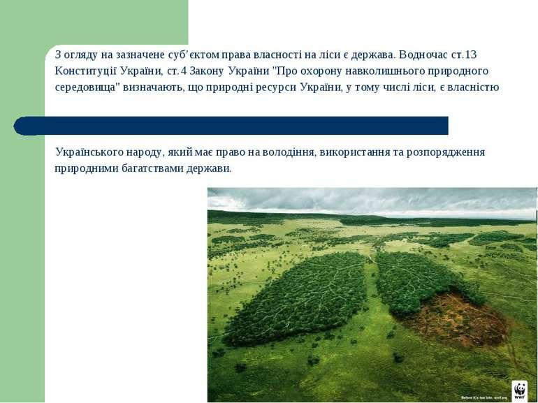 З огляду на зазначене суб'єктом права власності на ліси є держава. Водночас с...