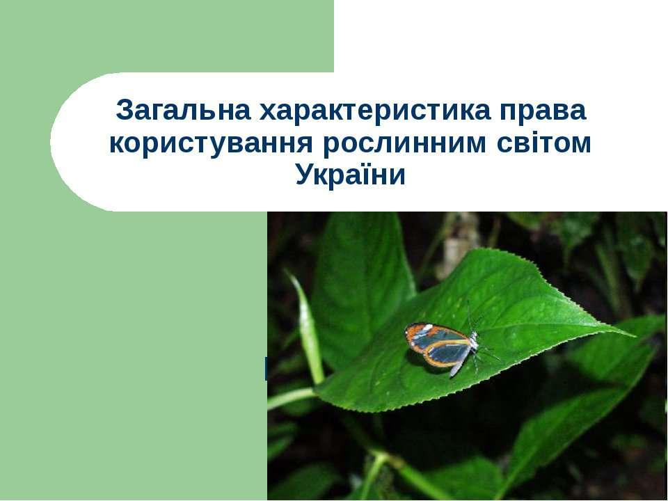 Загальна характеристика права користування рослинним світом України
