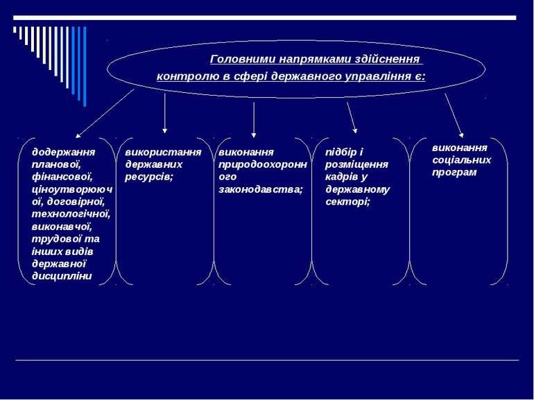 Головними напрямками здійснення контролю в сфері державного управління є: вик...
