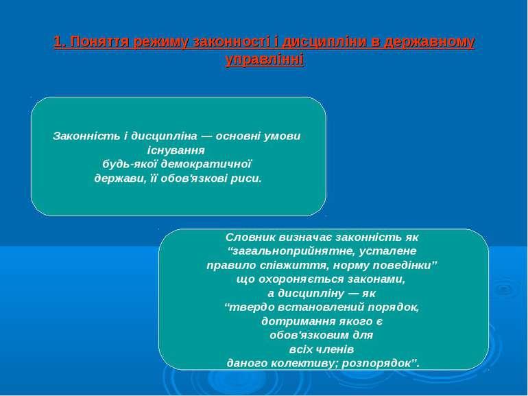 1. Поняття режиму законності і дисципліни в державному управлінні Законність ...