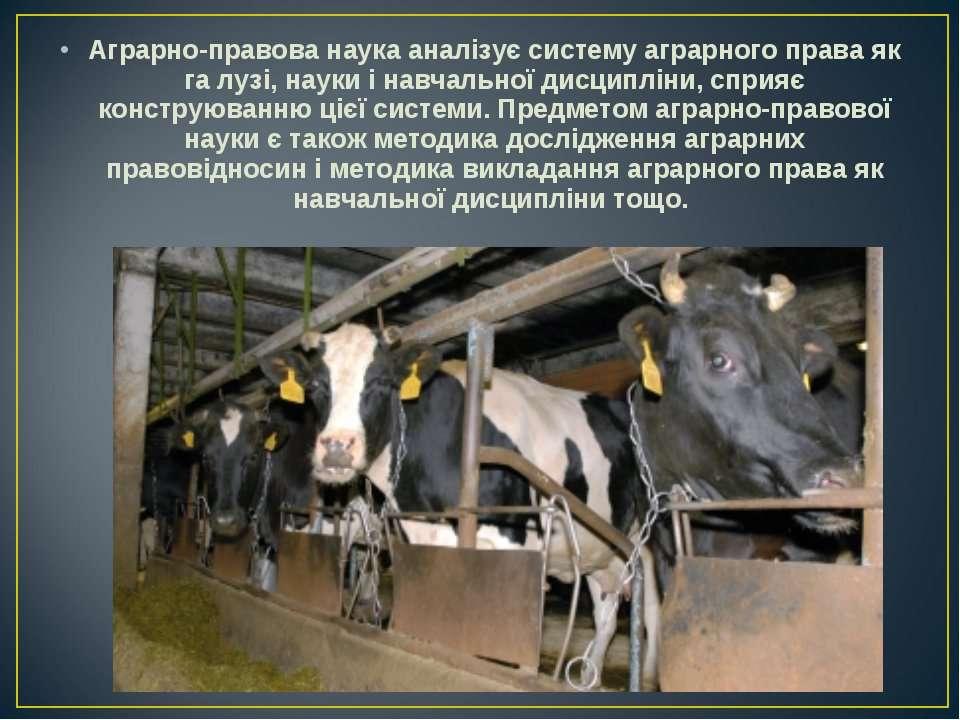 Аграрно-правова наука аналізує систему аграрного права як га лузі, науки і на...