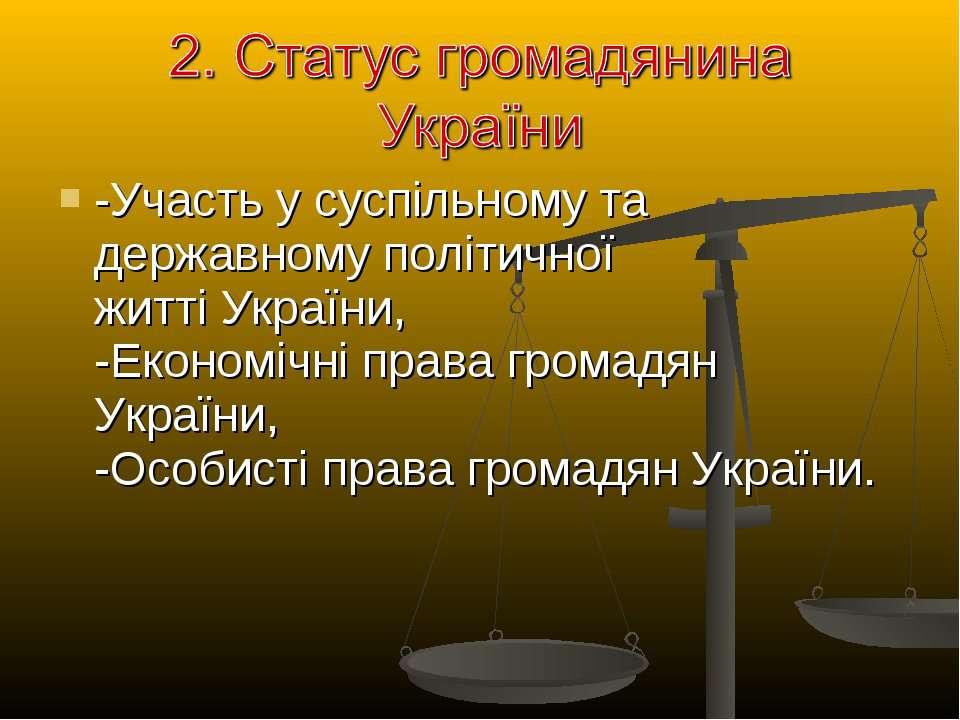 -Участь у суспільному та державному політичної житті України, -Економічні пра...