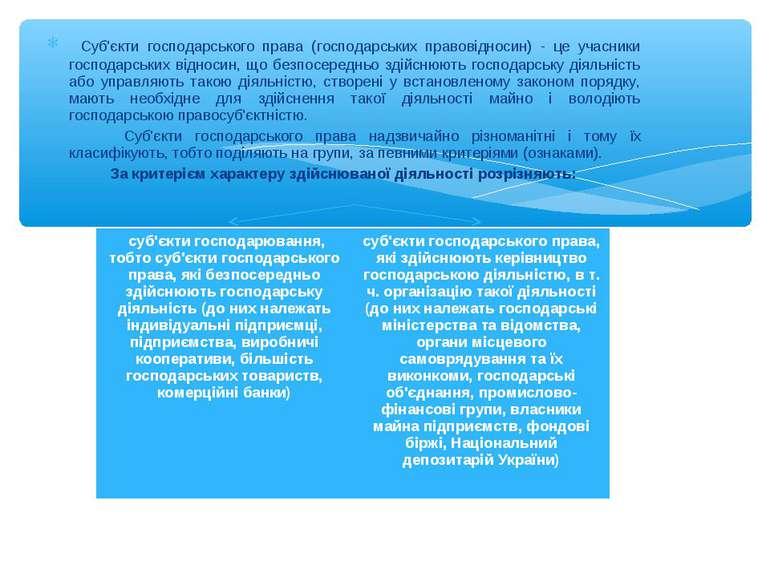 Суб'єкти господарського права (господарських правовідносин) - це учасники гос...