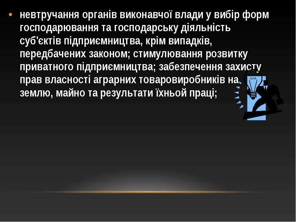невтручання органів виконавчої влади у вибір форм господарювання та господарс...