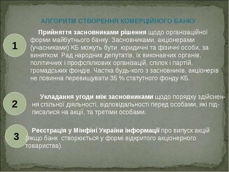 АЛГОРИТМ СТВОРЕННЯ КОМЕРЦІЙНОГО БАНКУ Прийняття засновниками рішення щодо орг...