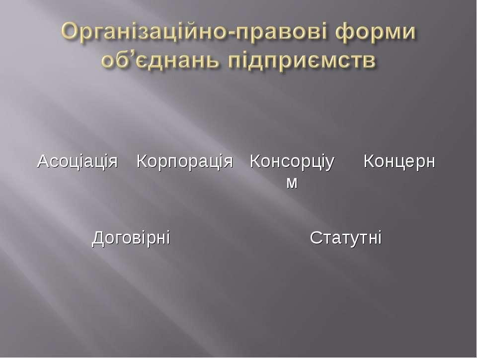 Асоціація Корпорація Консорціум Концерн Договірні Статутні