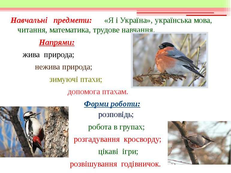 Навчальні предмети: «Я і Україна», українська мова, читання, математика, труд...