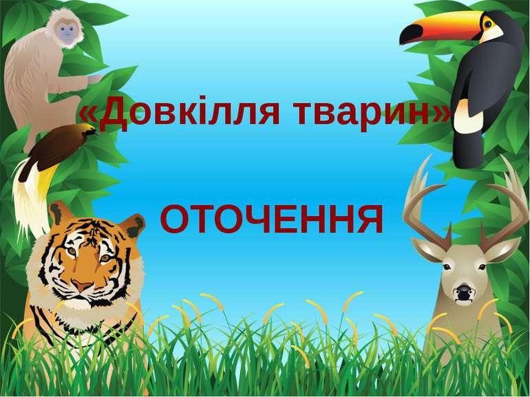 «Довкілля тварин» ОТОЧЕННЯ