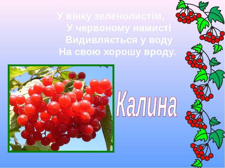 У вінку зеленолистім,  У червоному намисті  Видивляється у воду  На ...