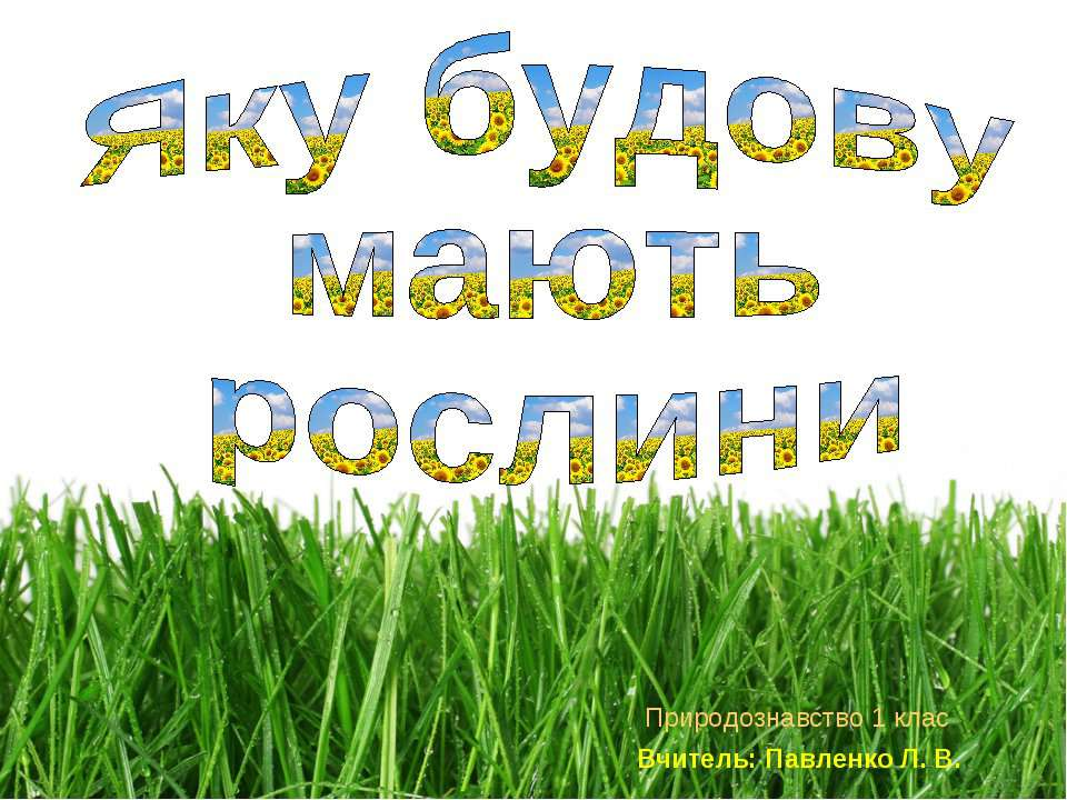 Природознавство 1 клас Вчитель: Павленко Л. В.