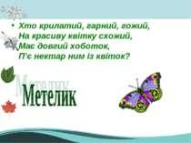 Хто крилатий, гарний, гожий, На красиву квітку схожий, Має довгий хоботок, П'...