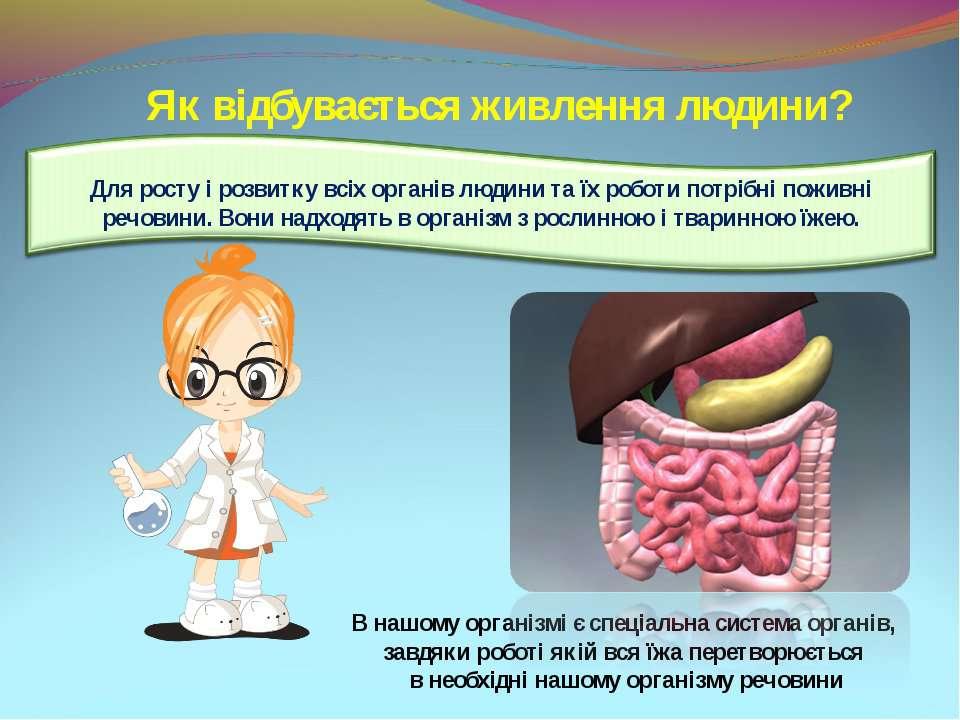 Як відбувається живлення людини? В нашому організмі є спеціальна система орга...