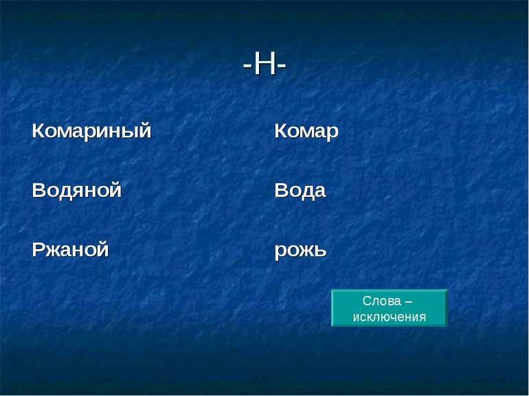 -Н- Комариный Водяной Ржаной Комар Вода рожь Слова – исключения