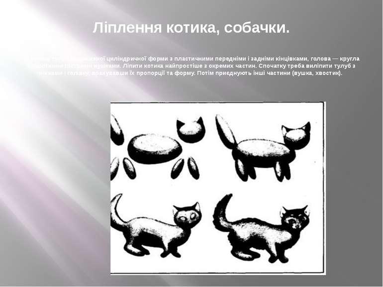 Ліплення котика, собачки. У котика тулуб видовженої циліндричної форми з плас...