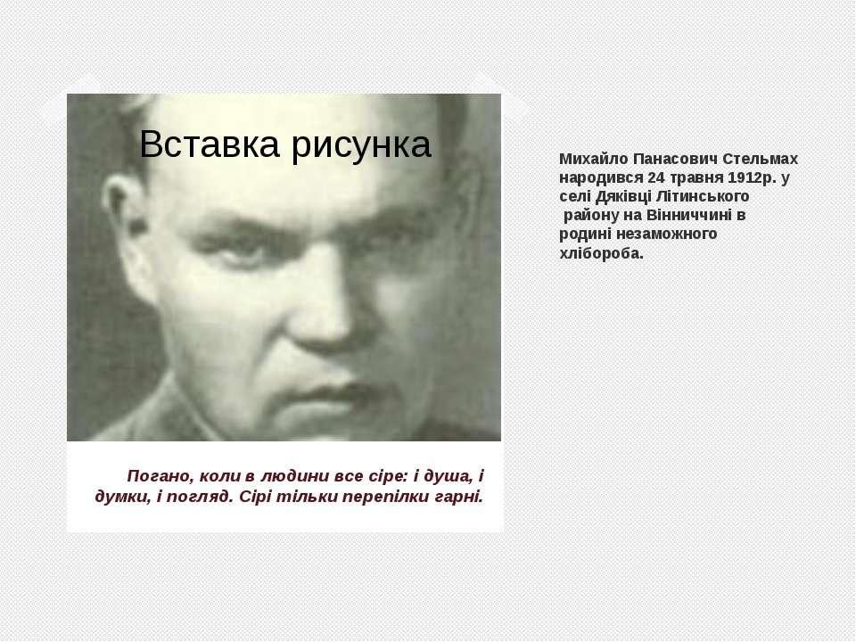 Михайло Панасович Стельмах народився 24 травня 1912р. у селi Дякiвцi Лiтинськ...