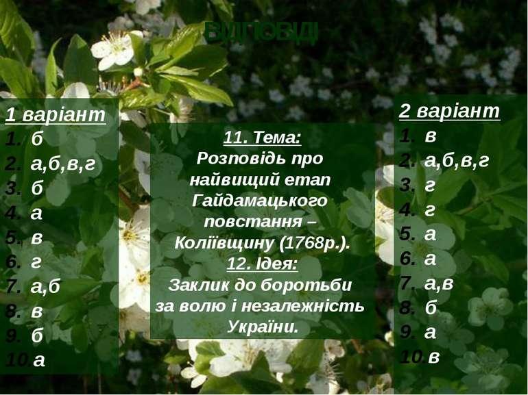 ВІДПОВІДІ 1 варіант б а,б,в,г б а в г а,б в б а 2 варіант в а,б,в,г г г а а а...