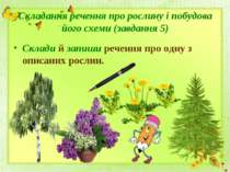 Складання речення про рослину і побудова його схеми (завдання 5)Склади й запи...