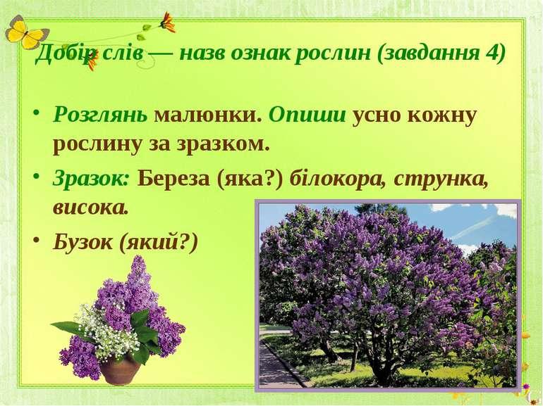 Добір слів — назв ознак рослин (завдання 4)Розглянь малюнки. Опиши усно кожну...
