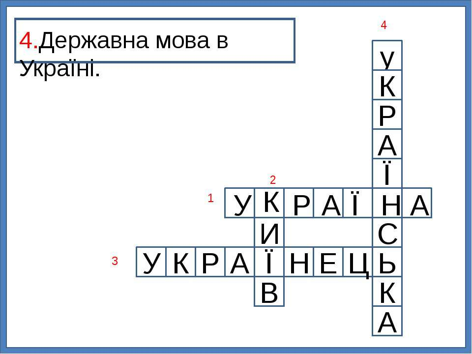 у К Р А Ї С Ь К А Ц И Е Н Ї У К Р А В 4.Державна мова в Україні. 1 2 3 4 У К ...