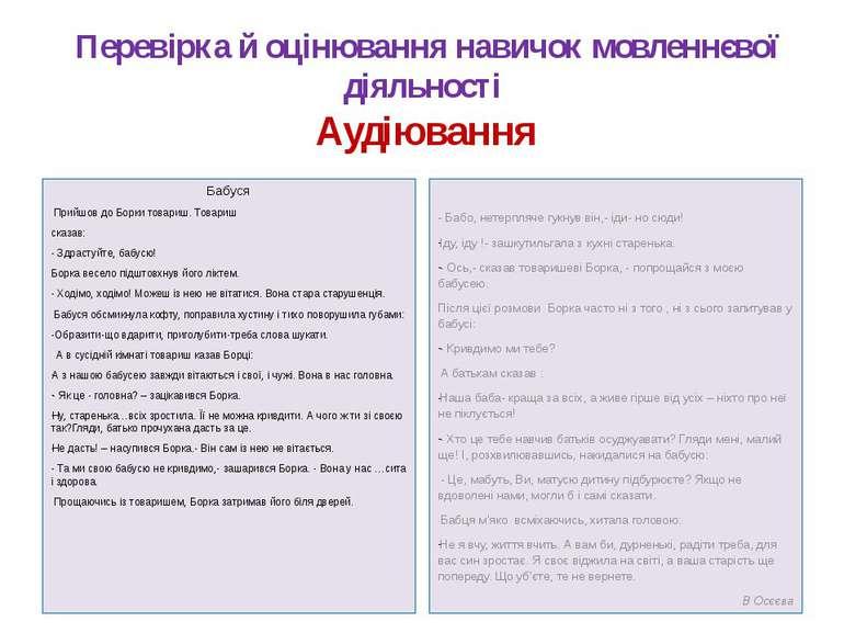 Перевірка й оцінювання навичок мовленнєвої діяльності Аудіювання Бабуся Прийш...