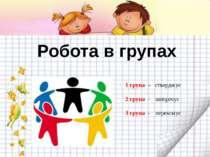Робота в групах 1 група – стверджує 2 група – заперечує 3 група - переконує