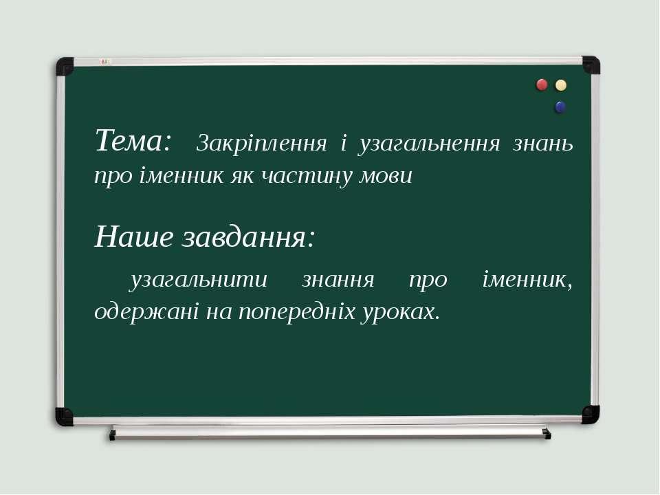 Тема: Закріплення і узагальнення знань про іменник як частину мови Наше завда...