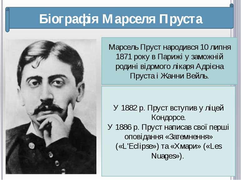 Біографія Марселя Пруста Марсель Пруст народився 10 липня 1871 року в Парижі ...