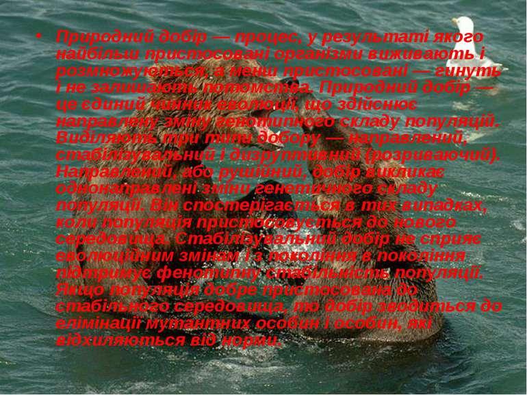 Природний добір — процес, у результаті якого найбільш пристосовані організми ...