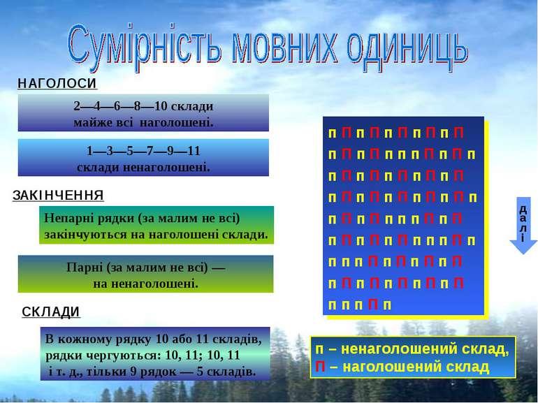 НАГОЛОСИ 2—4—6—8—10 склади майже всі наголошені. 1—3—5—7—9—11 склади ненаголо...