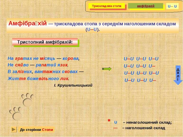 Амфібра хій — трискладова стопа з середнім наголошеним складом (U─U). Тристоп...