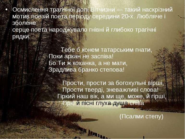 Осмислення трагічної долі Вітчизни — такий наскрізний мотив поезій поета пері...