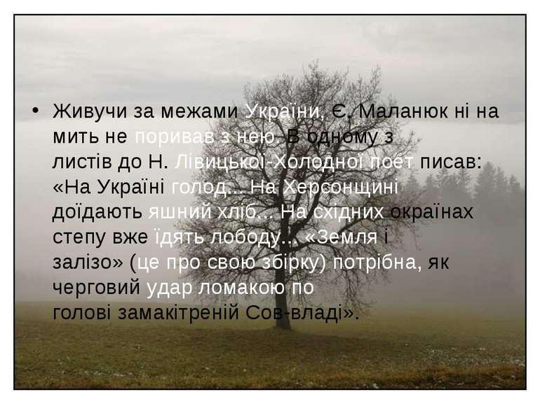Живучи за межами України, Є. Маланюк ні на мить не поривав з нею. В одному з ...
