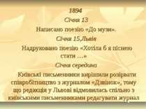 1894 Січня 13 Написано поезію «До музи». Січня 15,Львів Надруковано поезію «Х...