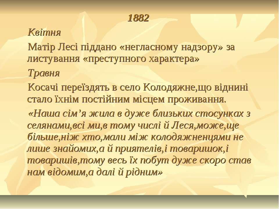 1882 Квітня Матір Лесі піддано «негласному надзору» за листування «преступног...