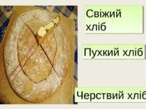 Свіжий хліб Пухкий хліб Черствий хліб