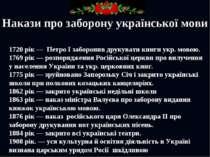Накази про заборону української мови 1720 рік — Петро І заборонив друкувати к...