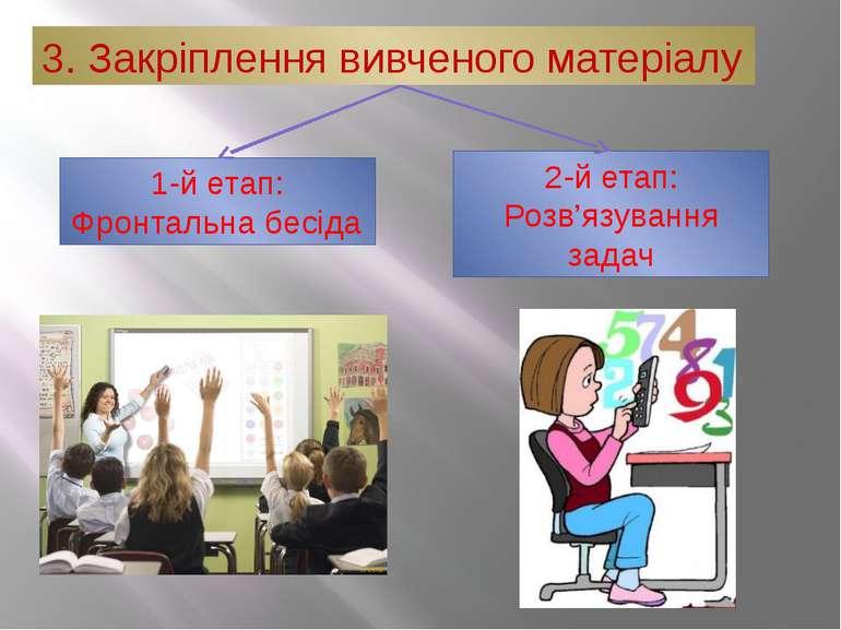 3. Закріплення вивченого матеріалу 1-й етап: Фронтальна бесіда 2-й етап: Розв...