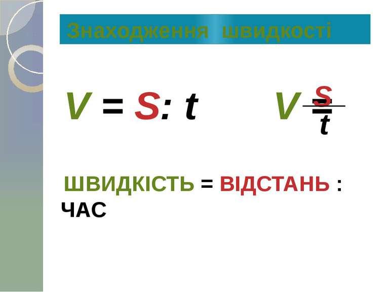 V = S: t V = S t ШВИДКІСТЬ = ВІДСТАНЬ : ЧАС Знаходження швидкості