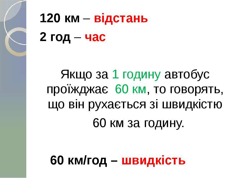120 км – відстань 2 год – час Якщо за 1 годину автобус проїжджає 60 км, то го...