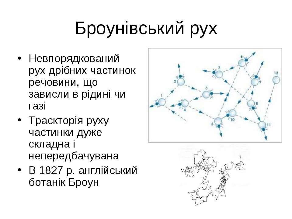 Броунівський рух Невпорядкований рух дрібних частинок речовини, що зависли в ...