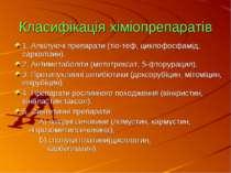 Класифікація хіміопрепаратів 1. Алкілуючі препарати (тіо-теф, циклофосфамід, ...