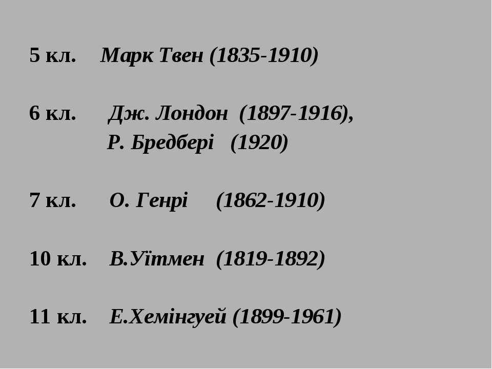 5 кл. Марк Твен (1835-1910) 6 кл. Дж. Лондон (1897-1916), Р. Бредбері (1920) ...