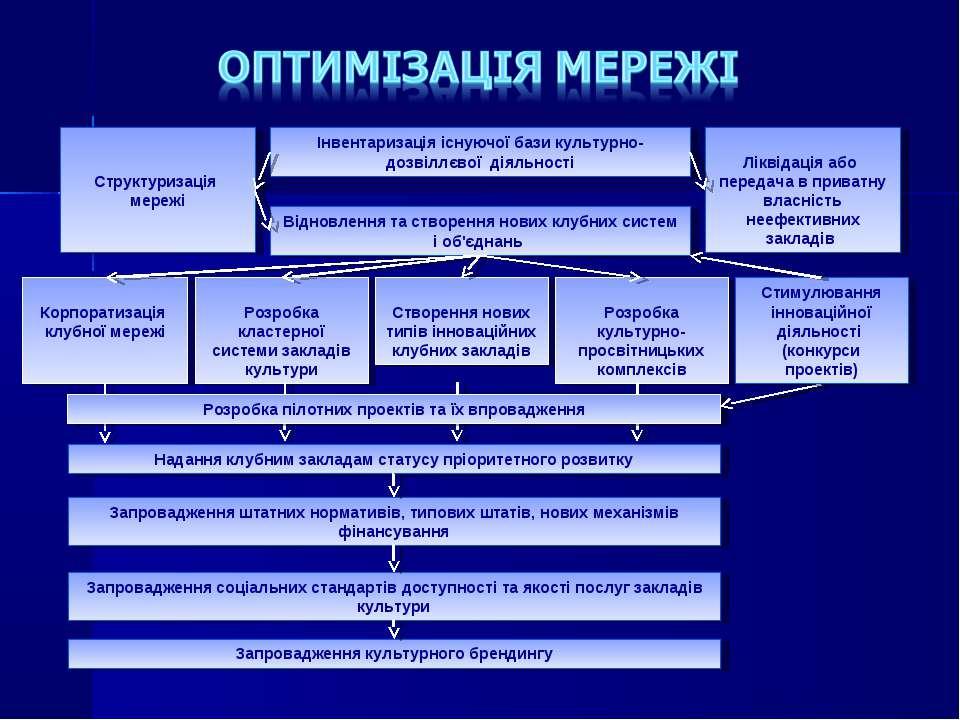 Структуризація мережі Інвентаризація існуючої бази культурно-дозвіллєвої діял...