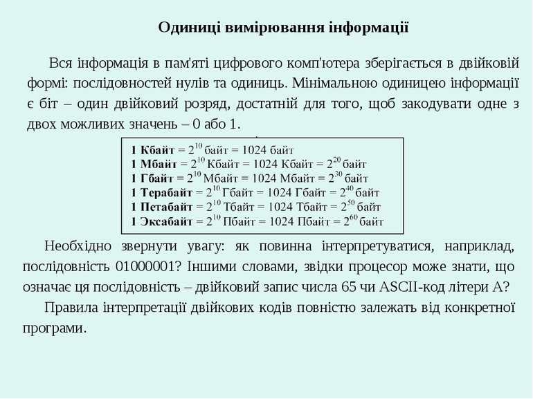 Одиниці вимірювання інформації Вся інформація в пам'яті цифрового комп'ютера ...