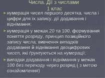 Числа. Дії з числами 1 клас нумерація чисел першого десятка, числа і цифри дл...