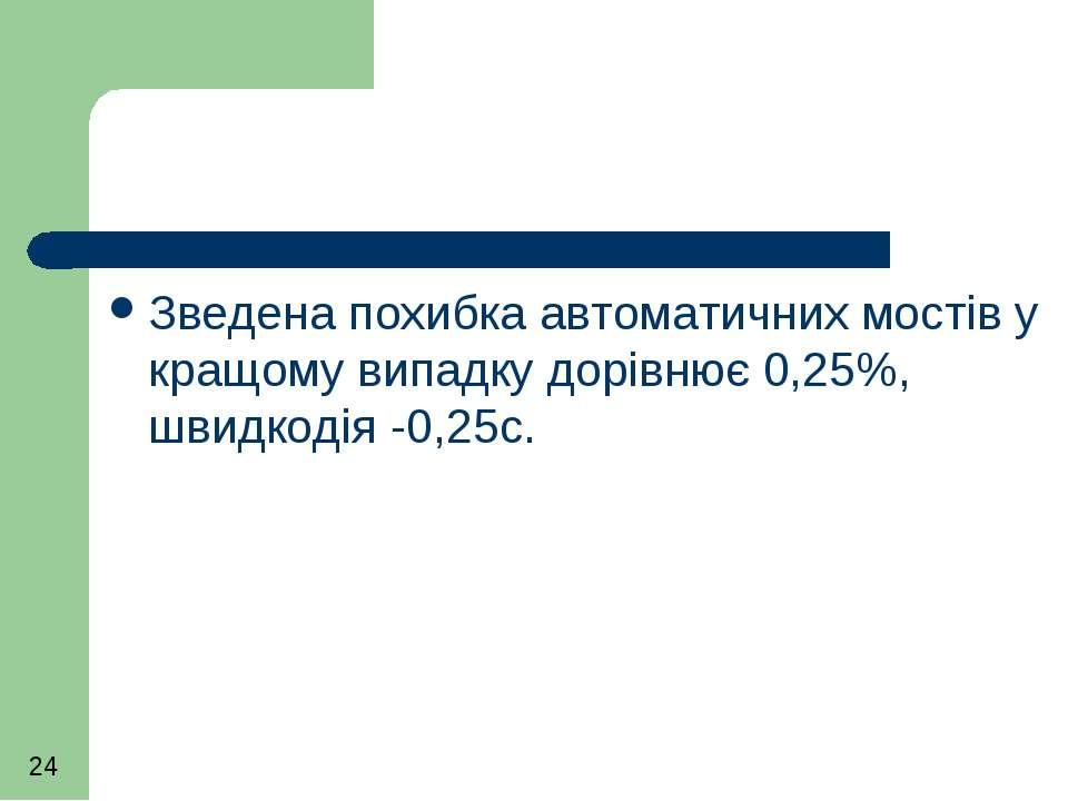 Зведена похибка автоматичних мостів у кращому випадку дорівнює 0,25%, швидкод...