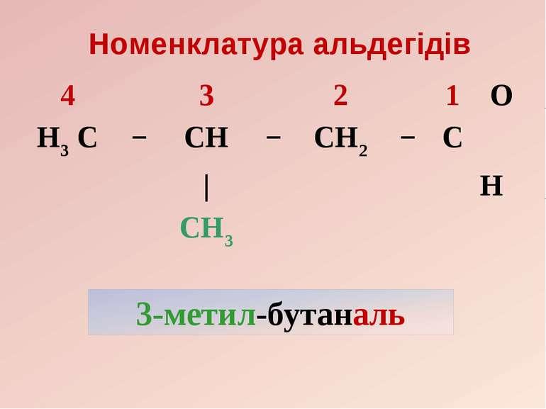 Номенклатура альдегідів 4 3 2 1 O H3 C − CH − CH2 − C | H CH3